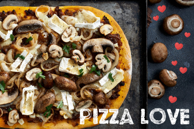 Mushroom, Caramelized Onions, Brie and Roasted Garlic Pizza