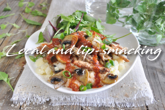 Mushrooms and Pilchards served on Pap