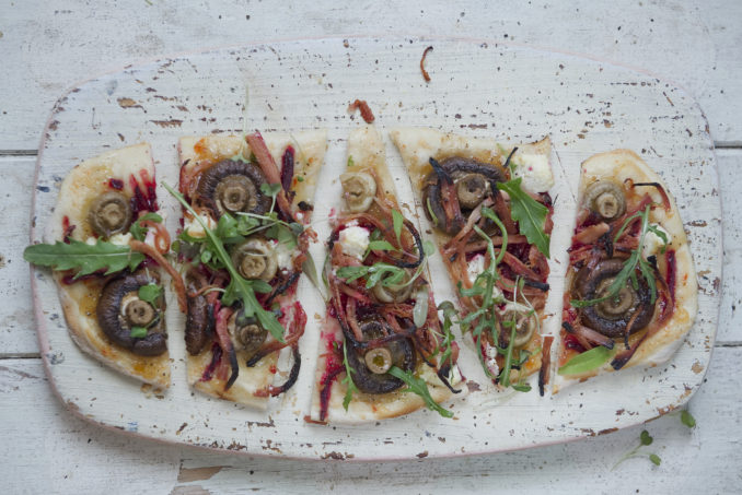 Slow Roasted Pork Fillet, Beetroot and Mushroom Pizza